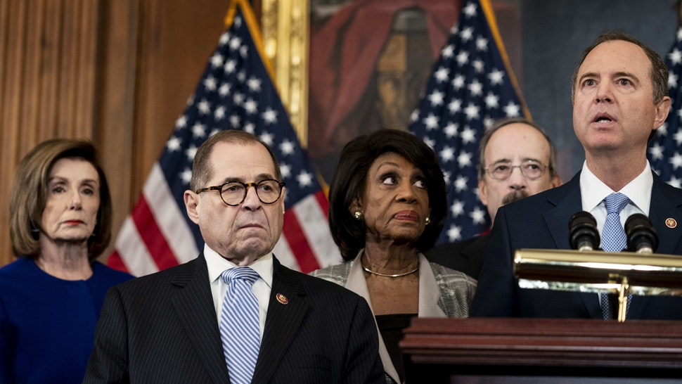 DECEMBER 10, 2019: Speaker of the House Nancy Pelosi, Judiciary Committee Chairman Jerrold Nadler, House Intelligence Chairman Adam Schiff, along with Chairman Elliot Engel, Chairwoman Maxine Waters, Chairwoman Carolyn Maloney, and Chairman Richard Neal gather to speak to journalists to announce the specific articles of impeachment during a press conference on Capitol Hill in Washington, DC on Tuesday December 10, 2019.