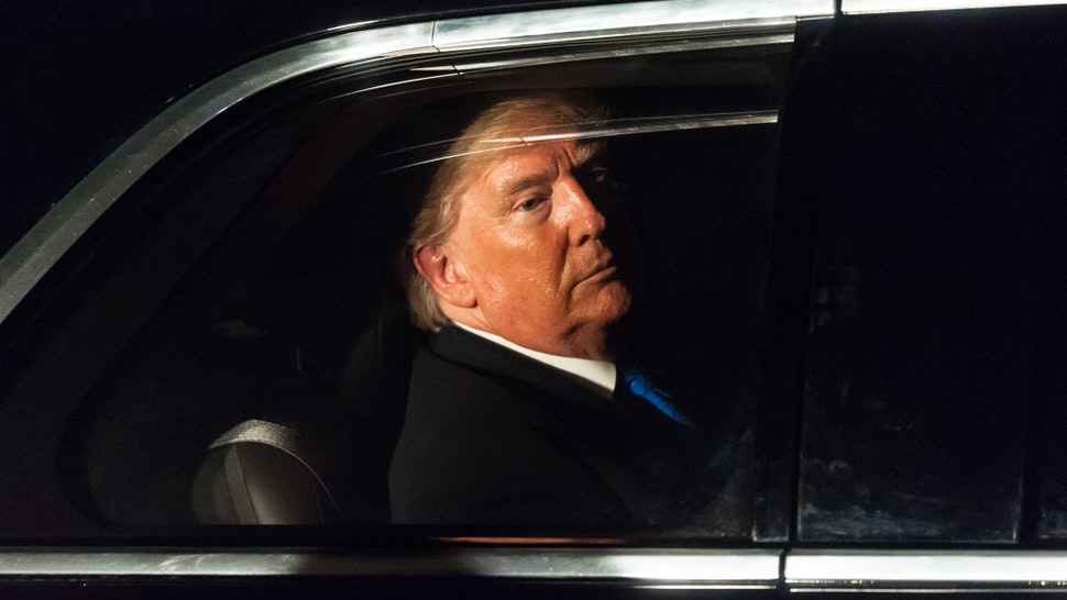 US President Donald Trump leaves 10 Downing Street in his state car 'The Beast' after attending reception for NATO leaders hosted by British Prime Minister Boris Johnson on 03 December, 2019 in London, England, ahead of the main summit tomorrow held to commemorate the 70th anniversary of NATO. (Photo by WIktor Szymanowicz/NurPhoto)