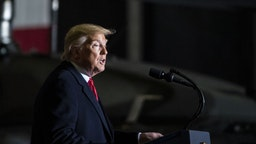 U.S. President Donald Trump speaks during a signing ceremony at Joint Base Andrews, Maryland, U.S., on Friday, Dec. 20, 2019. Trump signed the $738 billion National Defense Authorization Act (NDAA) bill, notably creating the new Space Force in exchange for implementing a 12-week paid parental leave for federal workers. Photographer: Al Drago/Bloomberg