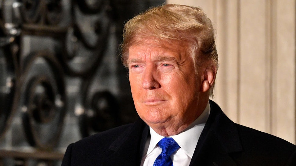 US President Donald Trump arrives at number 10 Downing Street for a reception on December 3, 2019 in London, England. France and the UK signed the Treaty of Dunkirk in 1947 in the aftermath of WW2 cementing a mutual alliance in the event of an attack by Germany or the Soviet Union. The Benelux countries joined the Treaty and in April 1949 expanded further to include North America and Canada followed by Portugal, Italy, Norway, Denmark and Iceland. This new military alliance became the North Atlantic Treaty Organisation (NATO). The organisation grew with Greece and Turkey becoming members and a re-armed West Germany was permitted in 1955. This encouraged the creation of the Soviet-led Warsaw Pact delineating the two sides of the Cold War. This year marks the 70th anniversary of NATO. (Photo by Leon Neal/Getty Images)