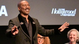 "LOS ANGELES, CALIFORNIA - DECEMBER 02: Eddie Murphy speaks on stage at the Hammer Museum Los Angeles Presents MoMA Contenders 2019 Screening and Q&A of ""Dolemite Is My Name"" at Hammer Museum on December 02, 2019 in Los Angeles, California."