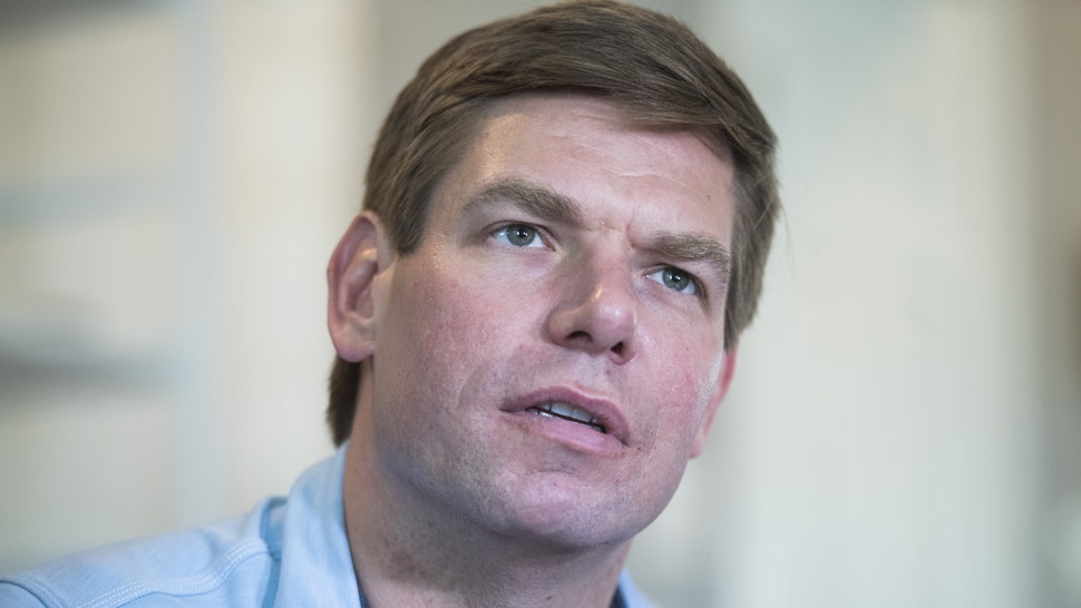 UNITED STATES - MAY 30: Rep. Eric Swalwell, D-Calif., his wife, Brittany, their son, Nelson, 2, and daughter, Cricket, 7 months, sit for an interview with CQ Roll Call in their Northeast D.C., home on Thursday, May 30, 2019.