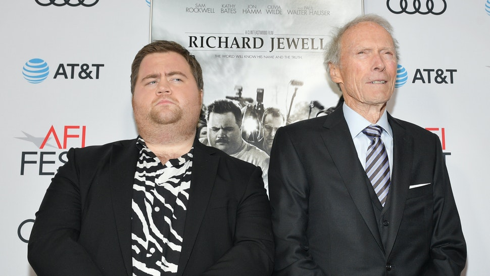 """Paul Walter Hauser and Clint Eastwood attend the """"Richard Jewell"""" premiere during AFI FEST 2019 Presented By Audi at TCL Chinese Theatre on November 20, 2019 in Hollywood, California."""