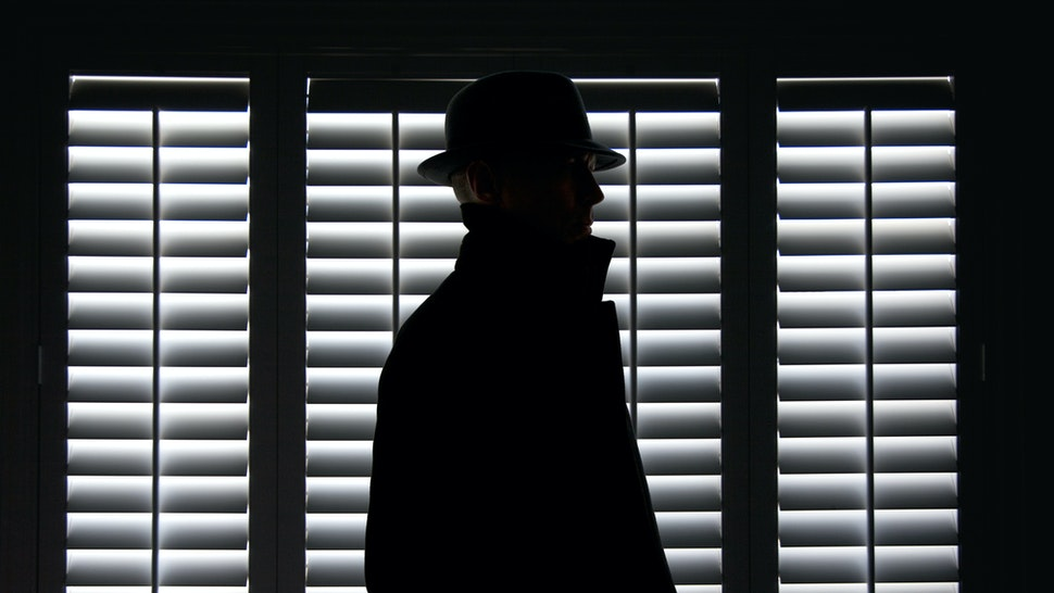 Silhouette of a man in hat against screen window.