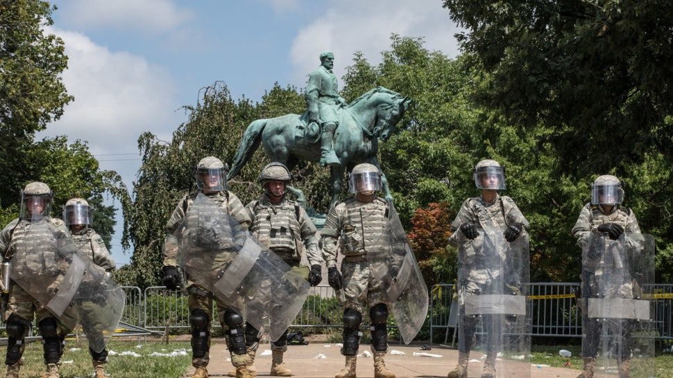 National Guard take over Emancipation Park as the Unite the Rally is shut down and declared an unlawful gathering in Charlottesville,Virginia, August 12, 2017.