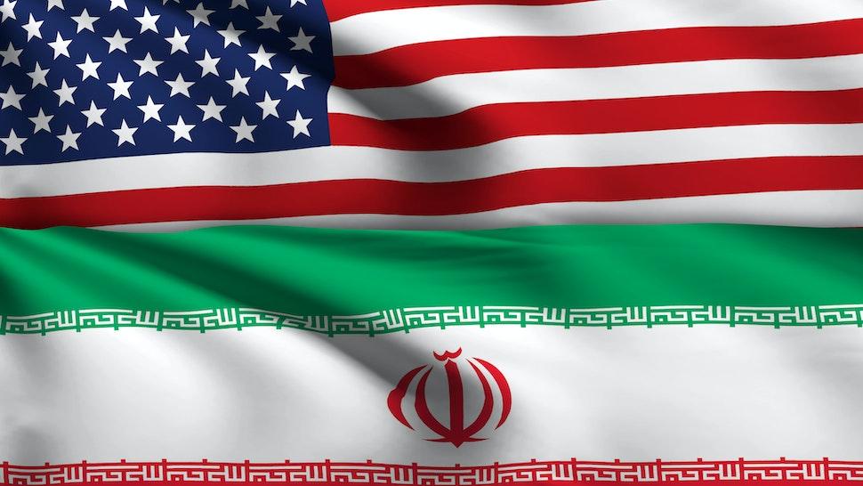 Iran - Iranian Flag USA - Flag with ripples and shadow.