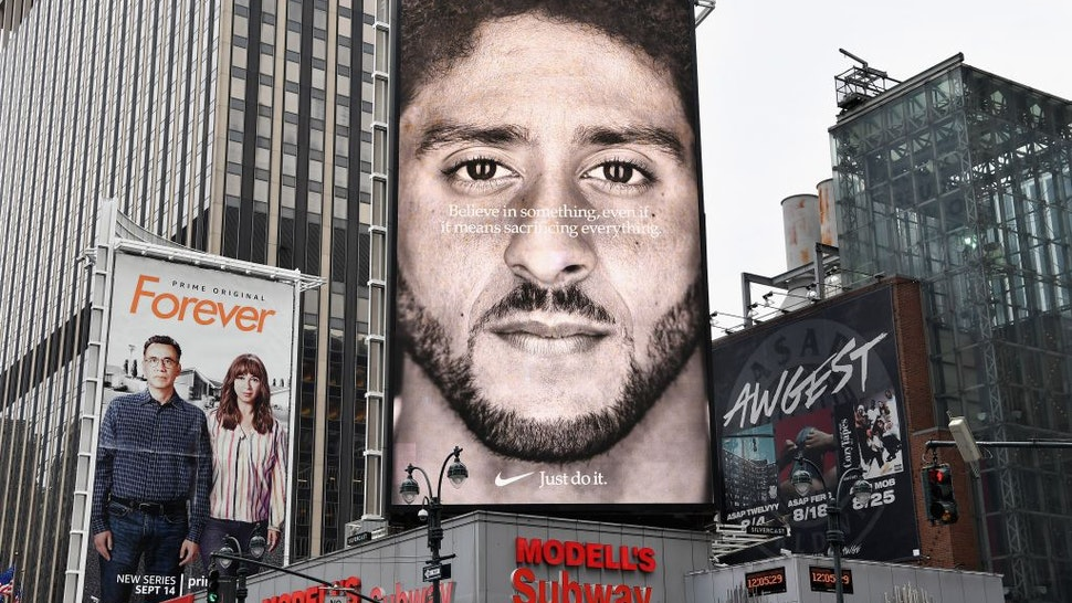 A Nike Ad featuring American football quarterback Colin Kaepernick is on diplay September 8, 2018 in New York City.