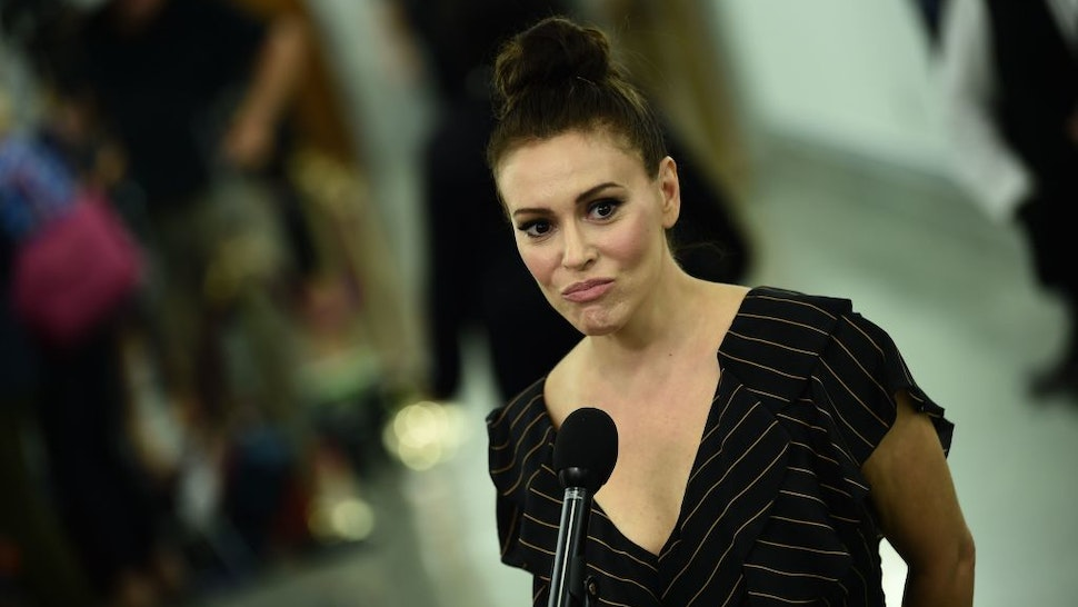 Actress and sexual assault survivor Alyssa Milano speaks to the media during the Senate Judiciary Committee hearing on the nomination of US Supreme Court nominee Brett Kavanaugh on Capitol Hill in Washington, DC, on September 27, 2018.
