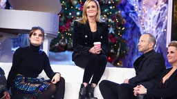 NEW YORK, NY - DECEMBER 17:(L-R) Amy Hoggart, Samantha Bee, Mike Rubens, and Allana Harkin onstage during Full Frontal With Samantha Bee Presents Christmas On I.C.E. at PlayStation Theater on December 17, 2018 in New York City. 477176 (Photo by Astrid Stawiarz/Getty Images for TBS)
