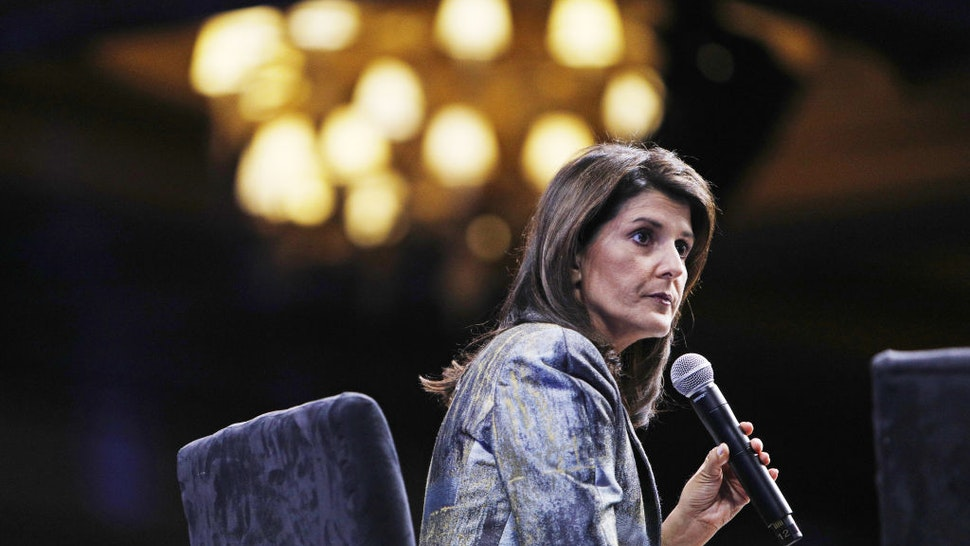 Nikki Haley, former U.S. ambassador to the United Nations (UN), pauses during the Skybridge Alternatives (SALT) conference in Las Vegas, Nevada, U.S., on Thursday, May 9, 2019.