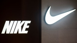 A logo of an American multinational sport clothing brand Nike seen in Hong Kong.