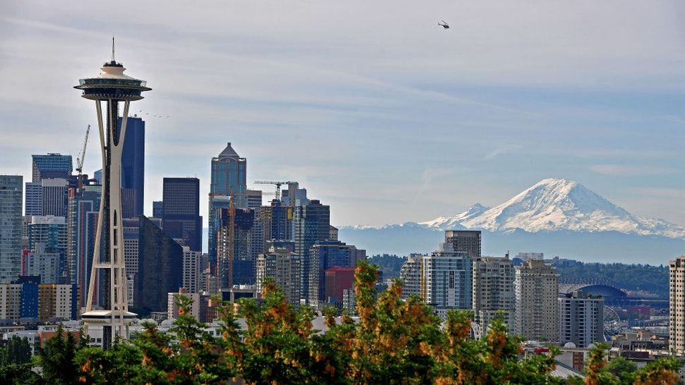 A general view of the Seattle Skyline and Mount Rainier from Kerry Park during the 2019 Rock'n'Roll Seattle Marathon and 1/2 Marathon on June 9, 2019 in Seattle, Washington.