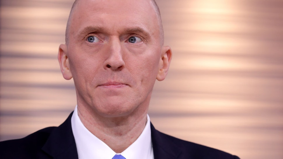Global Natural Gas Ventures founder Carter Page participates in a discussion on 'politicization of DOJ and the intelligence community in their efforts to undermine the president' hosted by Judicial Watch at the One America News studios on Capitol Hill May 29, 2019 in Washington, DC.