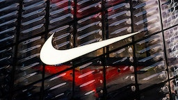 An American multinational sportswear corporation Nike logo seen in Shanghai.