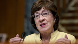 Senator Susan Collins, a Republican from Maine and chairman of the Senate Appropriations Subcommittee on Transportation, questions witnesses during a hearing in Washington, D.C., U.S., on Wednesday, July 31, 2019. U.S. aviation regulators, who have been stung by criticism for approving a flawed design on the Boeing Co. 737 Max that helped lead to two crashes, told lawmakers at the hearing that the scrutiny they're facing will improve safety. Photographer: Andrew Harrer/Bloomberg via Getty Images