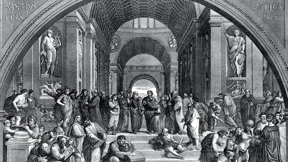 Engraving from 1894 showing the School of Athens by the Medieval artist Raphael.