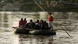 A group of migrants from Cameroon return to Guatemala on rafts on July 4, 2019 in Ciudad Hidalgo, Mexico.
