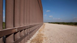 A section of the border wall stretches through the Rio Grande Valley sector of the Texas border on Aug. 20, 2019.