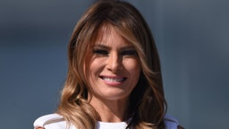 US First Lady Melania Trump looks during the reopening of the Washington Monument on the National Mall on September 19, 2019 in Washington, DC.