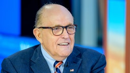 "NEW YORK, NEW YORK - SEPTEMBER 23: Former New York City Mayor and attorney to President Donald Trump Rudy Giuliani visits ""Mornings With Maria"" with anchor Maria Bartiromo at Fox Business Network Studios on September 23, 2019 in New York City. (Photo by Roy Rochlin/Getty Images)"