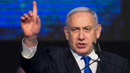 Israeli Prime Minister Benjamin Netanyahu speaks to supporters at a Likud Party gathering on November 17, 2019 in Tel Aviv, Israel.