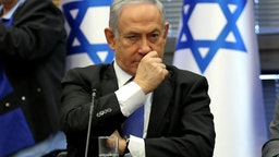 Israeli Prime Minister Benjamin Netanyahu reacts during a meeting of the right-wing bloc at the Knesset (Israeli parliament) in Jerusalem on November 20, 2019.