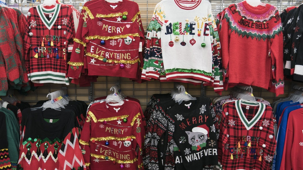 KING OF PRUSSIA, PA - NOVEMBER 28: Christmas sweaters are seen in Walmart on Thanksgiving night ahead of Black Friday on November 28, 2019 in King of Prussia, United States. (Photo by Sarah Silbiger/Getty Images)