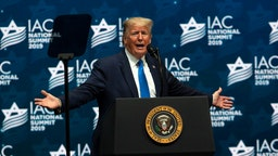 President Donald Trump speaks during a homecoming campaign rally at The Diplomat Conference Center for the Israeli-American Council Summit on December 7, 2019 in Hollywood, Florida.