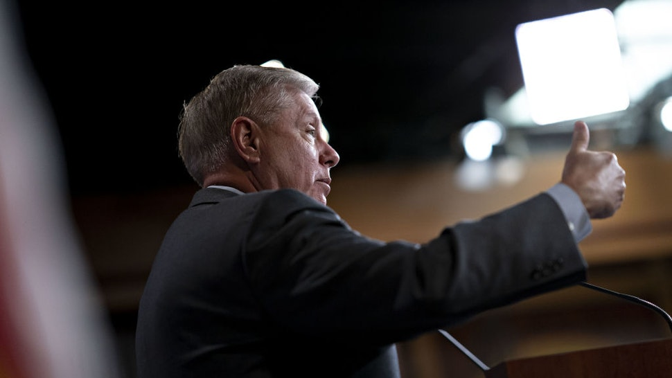 Senator Lindsey Graham, a Republican from South Carolina, gestures while speaking during a news conference on Capitol Hill in Washington, D.C., U.S., on Monday, Dec. 9, 2019.
