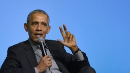 Former U.S. President Barack Obama speaks on the stage as he attends an Obama Foundation event in Kuala Lumpur, Malaysia, 13 December 2019. Obama and his wife Michelle are in Kuala Lumpur for the inaugural Leaders: Asia-Pacific conference, focused on promoting women's education in the region.