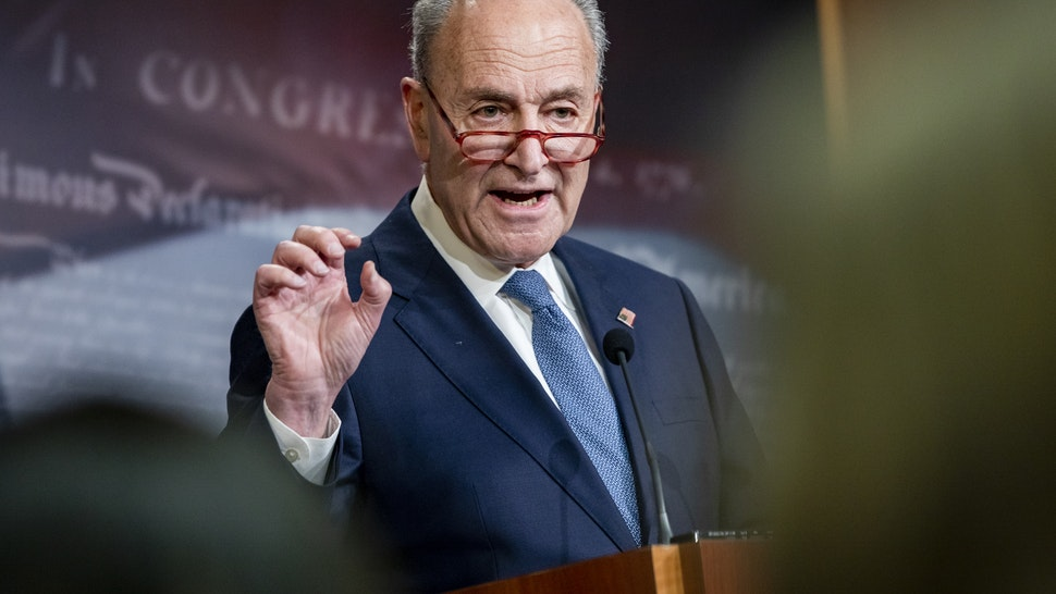 WASHINGTON, DC - DECEMBER 16: Senate Minority Leader Chuck Schumer (D-N.Y.) holds a press conference at the U.S. Capitol on December 16, 2019 in Washington, DC. Sen. Schumer criticized Majority Leader Mitch McConnell (R-Ky.) about his plans for the Impeachment trial of President Donald Trump if it passes in the House of Representatives during the press conference. (Photo by Samuel Corum/Getty Images)