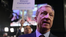 ATLANTA, GEORGIA - NOVEMBER 20: Tom Steyer speaks to the media after the Democratic Presidential Debate at Tyler Perry Studios November 20, 2019 in Atlanta, Georgia. Ten Democratic presidential hopefuls were chosen from the larger field of candidates to participate in the debate hosted by MSNBC and The Washington Post. (Photo by Joe Raedle/Getty Images)