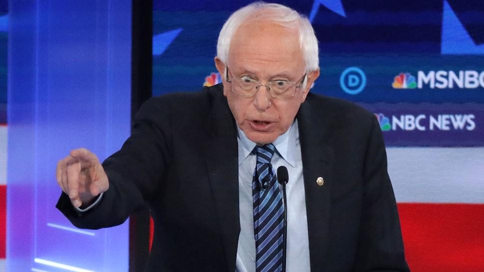 Democratic presidential candidate Sen. Bernie Sanders (I-VT) speaks during the Democratic Presidential Debate at Tyler Perry Studios November 20, 2019 in Atlanta, Georgia.