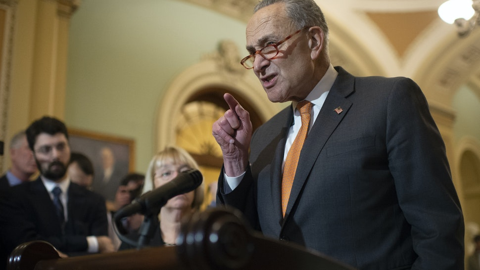 UNITED STATES - DECEMBER 17: Senate Minority Leader Chuck Schumer, D-N.Y., speaks during a press conference after the Senate Policy luncheons in the Capitol on Tuesday Dec. 17, 2019. (Photo by Caroline Brehman/CQ-Roll Call, Inc via Getty Images)