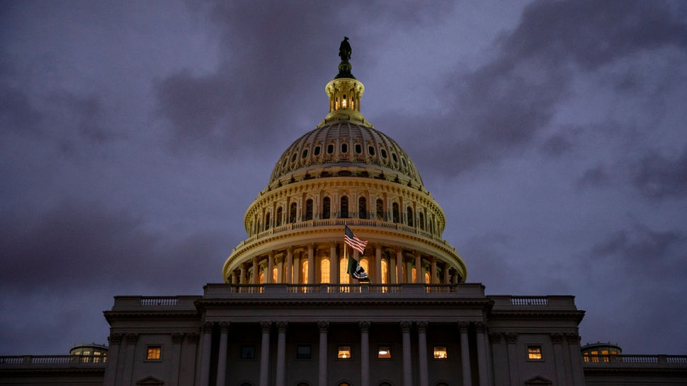 WASHINGTON, DC - DECEMBER 17: Night falls over the US Capitol as the day comes to a close on December 17, 2019 in Washington, DC. The House Rules Committee is holding a full committee hearing today to set guidelines for the upcoming debate and vote on the two Articles of Impeachment of President Trump in the House of Representatives.