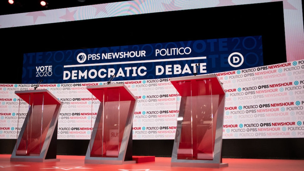 The debate stage is seen before the start of the Democratic presidential debate in Los Angeles, California, U.S., on Thursday, Dec. 19, 2019.