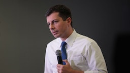 Democratic presidential candidate South Bend, Indiana Mayor Pete Buttigieg speaks to guests during a campaign stop at the YMCA on November 25, 2019 in Creston, Iowa.
