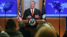 WASHINGTON, DC - NOVEMBER 26: U.S. Secretary of State Mike Pompeo speaks to the media in the briefing room at the State Department, on November 26, 2019 in Washington, DC. Secretary Pompeo spoke on several topics including Iran, Cuba, and recent protests in Hong Kong.