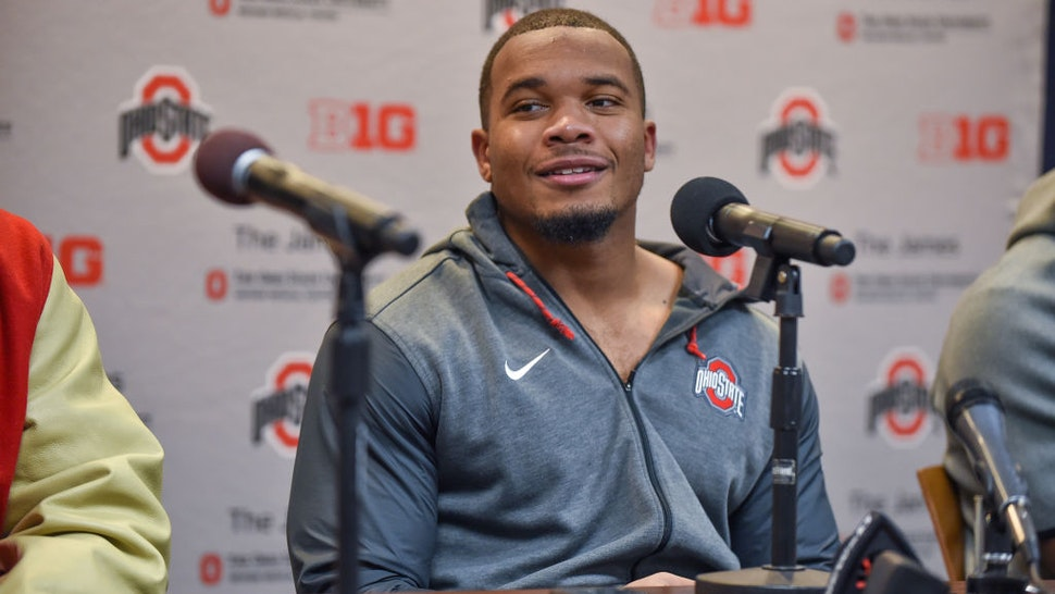 Running Back J.K. Dobbins #2 of the Ohio State Buckeyes speaks during the post game press conference after a college football game against the Michigan Wolverines at Michigan Stadium on November 30, 2019 in Ann Arbor, Michigan.