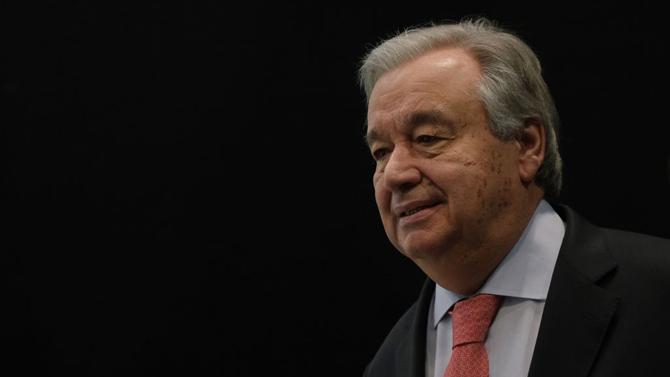 United Nations Secretary-General Antonio Guterres arrives to speak to the media ahead of the UNFCCC COP25 climate conference on December 1, 2019 in Madrid, Spain.