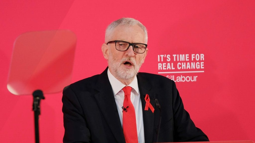 Labour Party leader Jeremy Corbyn delivers a speech on international and foreign policy at York College on December 01, 2019 in York, England.