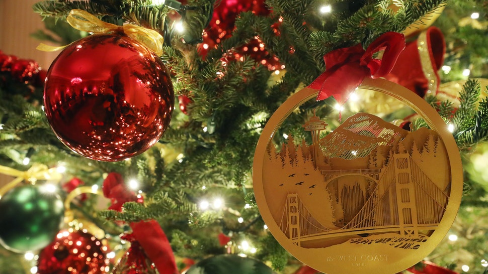 WASHINGTON, DC - DECEMBER 02: Christmas decorations are on display in the East Room at the White House December 2, 2019 in Washington, DC. The White House expects to host 100 open houses and more than 30,000 guests who will tour the topiary trees, architectural models of major U.S. cities, the Gold Star family tree and national monuments in gingerbread. (Photo by Mark Wilson/Getty Images)