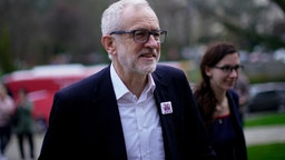 BANGOR, WALES - DECEMBER 08: Labour Leader Jeremy Corbyn arrives for an election campaign event at Bangor University on December 08, 2019 in Bangor, Wales. In the last week of campaigning in the general election political parties are making a big push for votes before the people go top the polls on Thursday.