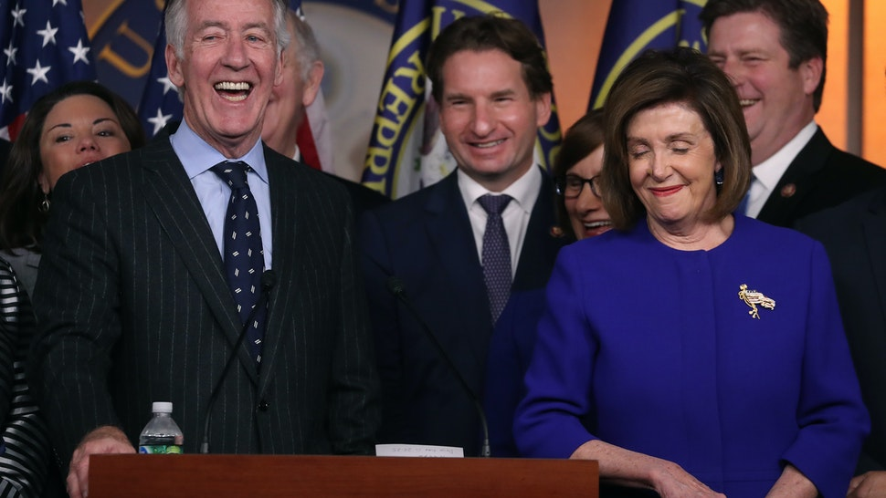 WASHINGTON, DC - DECEMBER 10: U.S. House Speaker Nancy Pelosi (D-CA) and Ways and Means Committee Chairman Richard E. Neal (D-MA) (L), speak during a news conference on the USMCA trade agreement, on Capitol Hill December 10, 2019 in Washington, DC.Pelosi said an agreement has been reached on a deal over the U.S.-Mexico-Canada, but final details for the trade pact were still being ironed out. (Photo by Mark Wilson/Getty Images)