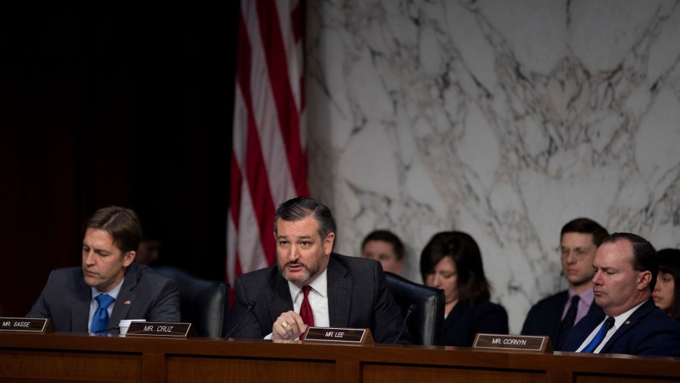 Sen. Ted Cruz (R-TX) asks questions to Michael Horowitz, inspector general for the Justice Department as he testifies before the Senate Judiciary Committee in the Hart Senate Office Building on December 11, 2019 in Washington, DC.