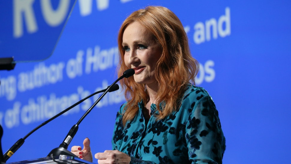 J.K. Rowling accepts an award onstage during the Robert F. Kennedy Human Rights Hosts 2019 Ripple Of Hope Gala & Auction In NYC on December 12, 2019 in New York City. (Photo by Bennett Raglin/Getty Images for for Robert F. Kennedy Human Rights)