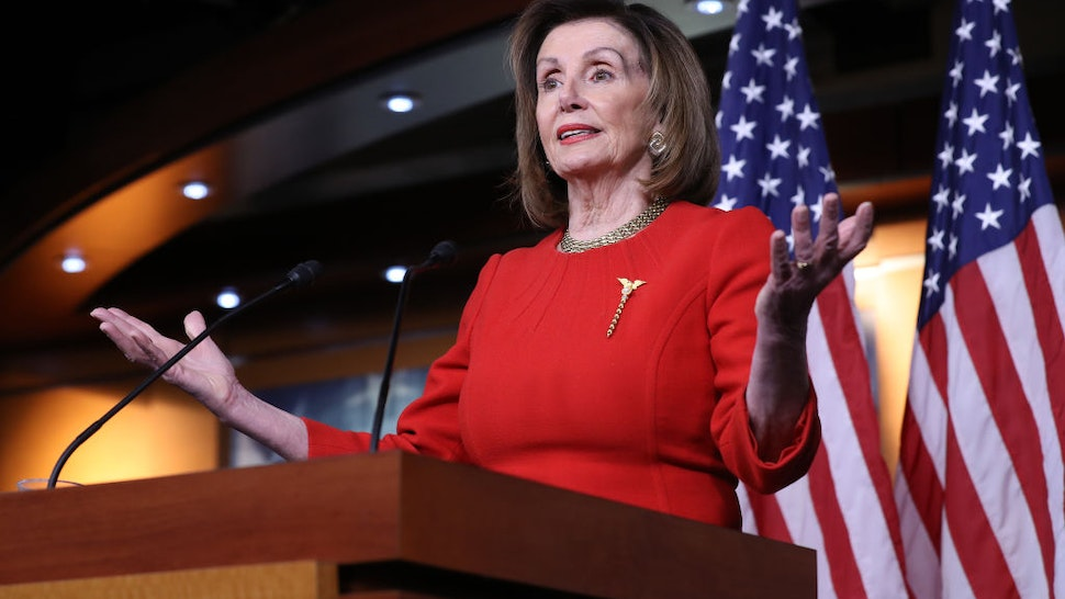 WASHINGTON, DC - DECEMBER 19: Speaker of the House Nancy Pelosi (D-CA) holds her weekly news conference at the U.S. Capitol December 19, 2019 in Washington, DC. Pelosi has not set the number of managers she will assign to President Donald Trump's impeachment trial and has not said when she will send the articles over to the U.S. Senate.