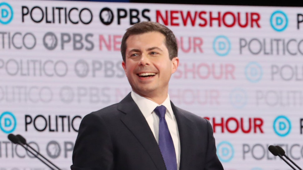 LOS ANGELES, CALIFORNIA - DECEMBER 19: Democratic presidential candidate South Bend, Indiana Mayor Pete Buttigieg reacts during the Democratic presidential primary debate at Loyola Marymount University on December 19, 2019 in Los Angeles, California. Seven candidates out of the crowded field qualified for the 6th and last Democratic presidential primary debate of 2019 hosted by PBS NewsHour and Politico.
