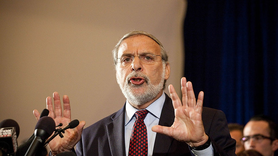 Democratic New York State Assemblyman Dov Hikind speaks at a press conference with American and Israeli Jewish leaders and supporters of Israel in the Great Room at the W Hotel Union Square, where Texas Governor and Republican presidential hopeful Rick Perry attacked President Barack Obama's foreign policy, on September 20, 2011 in New York City.