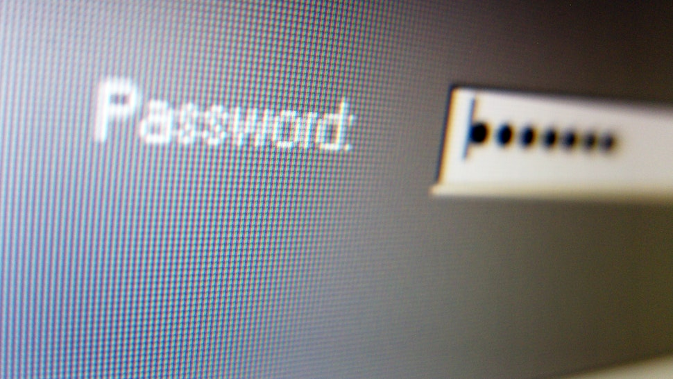 Password entry screen on computer screen.